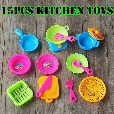 15pcs Children Kitchen Cooking Pretend Play Toy Kids Utensil Playset Party Gift