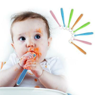 Baby Long Handle Silicone Spoon Soft Tip Feeding Spoons Gift Set For Baby - CB