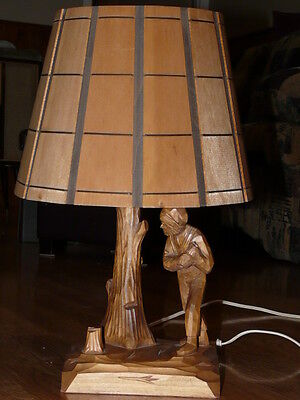 Vintage Wood Carved Table Lamp & Matching Shade by artist CARON from QUEBEC