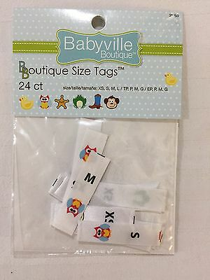 Babyville Boutique PUL Sew-On Size Tags Labels 24 Count New 6 Each of XS S M L