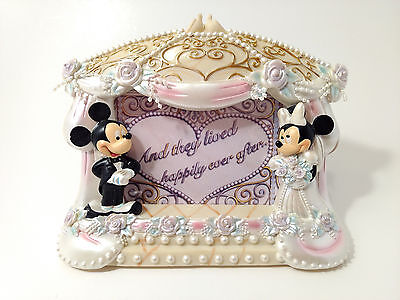 "Disney Mickey and Minnie Bride & Groom Wedding Picture Frame 5"" x 3 1/2"" Photo"