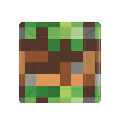 TNT Small Square Paper Plates Minecraft Themed Birthday Party Boys