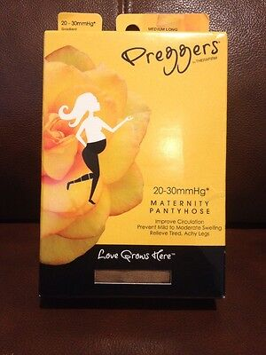 Preggers Maternity Pantyhose Medium Long Sand 20-30 mmHg