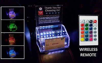 LED REMOTE CONTROL Color Lights Acrylic Tip Box w/ front clear pocket Uber Lyft
