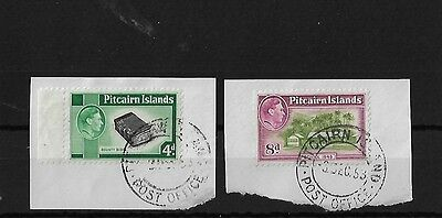 PITCAIRN IS SG5B + 6A, 4d + 8d GEORGE VI USED ON PIECE, CAT £20