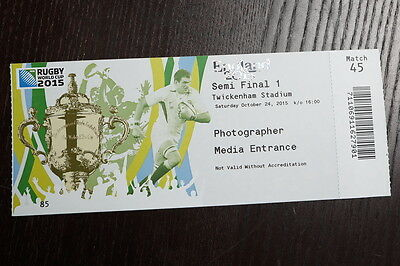 2015 Rugby World Cup Official Media Match Ticket for Match 45