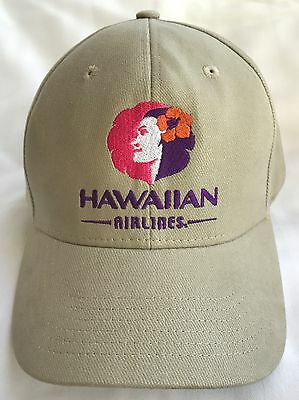 Rare Hawaiian Airlines Hat Pualani Tan New Unused Embroidered Cap Authentic
