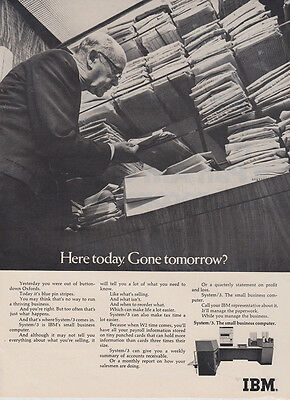 1969 IBM System 3 Computer: Here Today Gone Tomorrow (27434) Print Ad