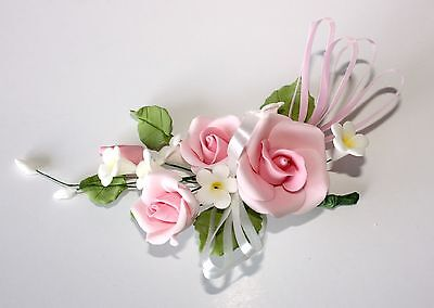 SMALL PINK OPEN ROSE SPRAY, Sugar Flowers, Cake Topper, Gum Paste, Sugar Paste