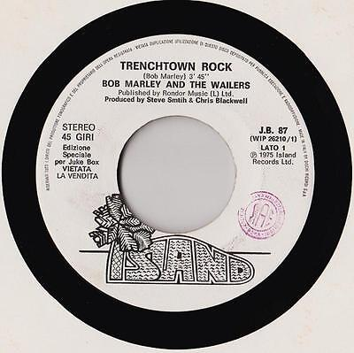 BOB MARLEY Trenchtown Rock 7'' PROMO RARE 1975 juke box White label Italy EX  NM
