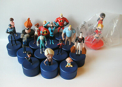 Lot of 16 Disney Pixar The Incredibles Pepsi bottlecap figures toys Japan stamp