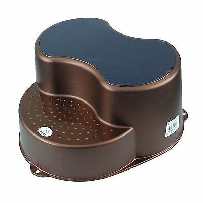 Infant Unisex Double Step Stool Potty Training Aid Non Slip Toilet Aid - Brown