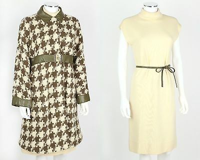VTG 1960s BONNIE CASHIN SILLS 2PC OLIVE IVORY HOUNDSTOOTH WOOL COAT DRESS SET