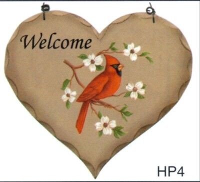 """CARDINAL WELCOME Wood Heart Country Lodge Cabin  Rustic Primitive Sign 8x7"""""""