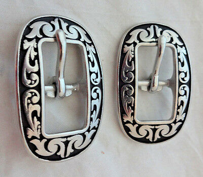 """Pair Jeremiah Watt Oval Floral Buckles 1/2"""" Black Headstall Horse Tack Stainless"""