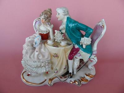 Beautiful vintage hand painted French Romance courting Couple figurine