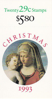 U.S. BKLT OF 20 SCOTT#BK211 1993 29ct XMAS MADONNA MINT VARIOUS P#'s UNDER FACE