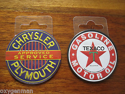 (2) TEXACO Gas Oil  & CHRYSLER PLYMOUTH Garage Round Toolbox Metal Magnets