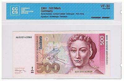 1991 - West Germany - 500 Mark Banknote - VF-30