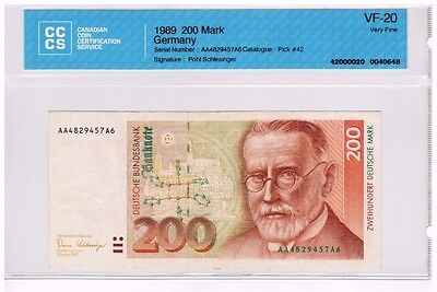 1989 - West Germany - 200 Mark Banknote - VF-20