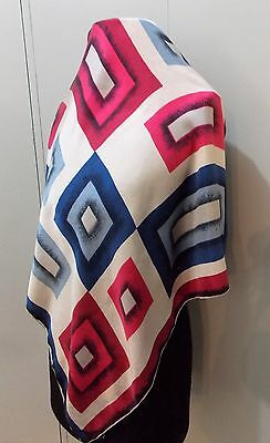 Vintage 1960s White, Pink & Blue Silk 67cm Square Women's Scarf- Flaws