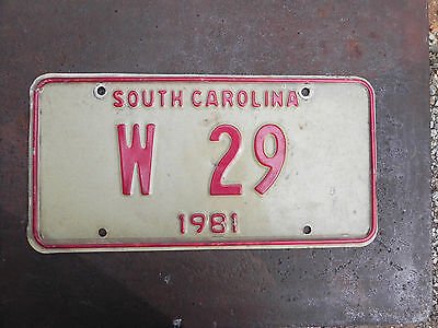 """License Plate South Carolina SC state-issued """" W 29 """" Red & White"""