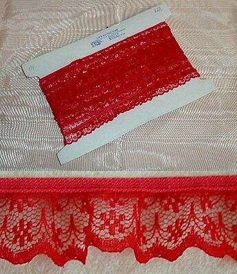 Gathered Lace Red - 5 metres  (133)