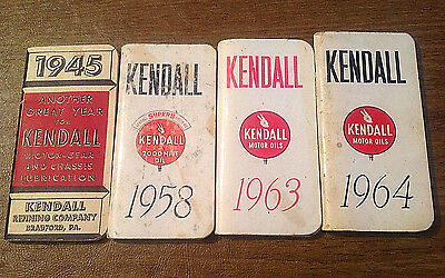 FOUR Kendall Motor Oil Diary Memo Calendar Ad Booklets 1945 1958 1963 1964