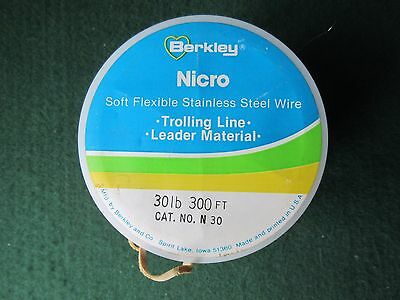 Berkley 30 lb sea fishing trolling / trace wire 4 x 300ft continuous