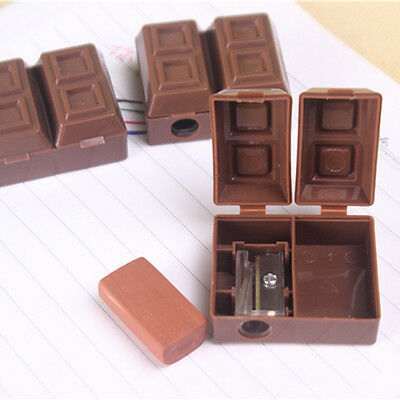 Lovely Creative Chocolate Plastic Pencil Sharpener With Eraser Kid School Office