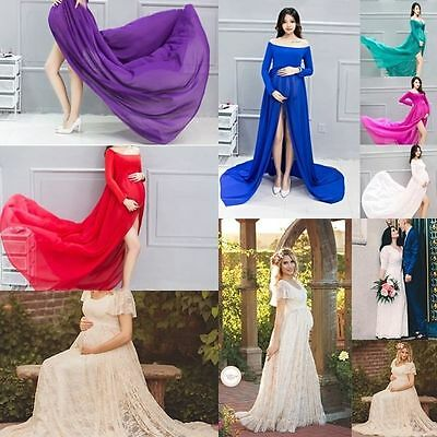 Pregnant Lace Long Maxi Gown Photography Photo Shoot Fancy Maternity Dresses