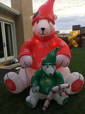 Airblown Inflatable 8' Christmas Polar Bear With Baby