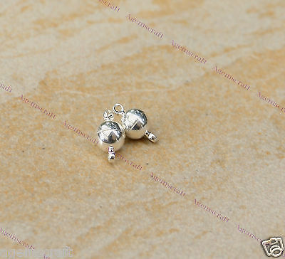 2 Silver tone plain strong magnetic clasps 8x14mm for bracelet necklace B2