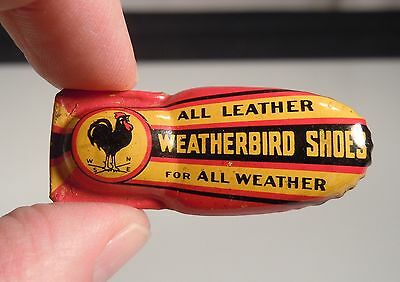 Vintage Weatherbird Shoes Tin Litho Advertising Clicker