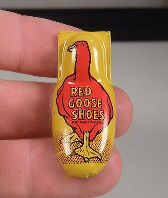 Vintage Red Goose Shoes Tin Litho Advertising Clicker