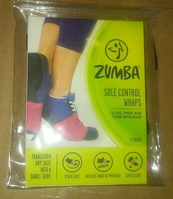 New Zumba Sole Control Wraps Slide & Glide Black & Pink 1 Pair