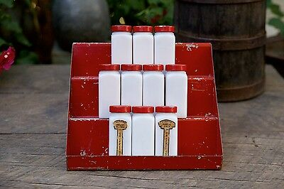 Vintage Griffith's White Milk Glass 10 Spice Jars w/Rare 3 Tiered Red Metal Rack