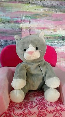 Ty Pursley The Cat Pluffies 2010 Gray White Kitty Lovey Stuffed Animal Plush Toy