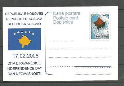 KOSOVO 062  2008 Independence Day Post card  MNH