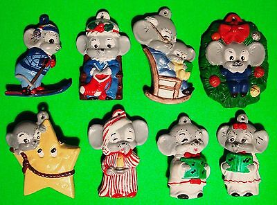 8 Vintage Hand Painted Mouse Figurine Christmas Ceramic Ornaments Lot