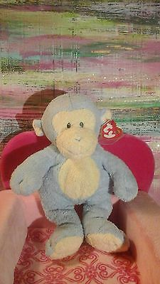 New Nwt Ty Monkey Pluffies Blue Cream Dangles Love To Baby Lovey Plush Toy Tylux