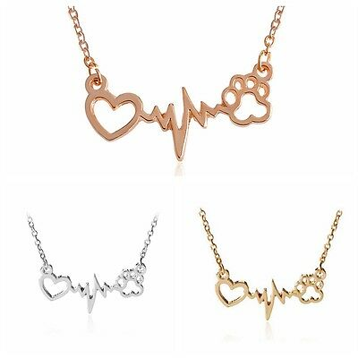 Women Ladies Electrocardiogram Love Paw Pendant Necklace Clavicle Chain Jewelry