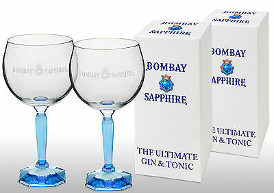 Bombay Sapphire Gin Balloon Glass New X 2 Gift Boxed.