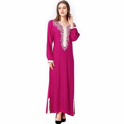 Women Moroccan Style Embroidey Dress Muslim Wedding Abaya Kaftan Arab Maxi Gown