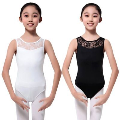 Kids Girls Leotard Lace Ballet Dance Costume Sleeveless Dancewear Bodysuit 4-15Y