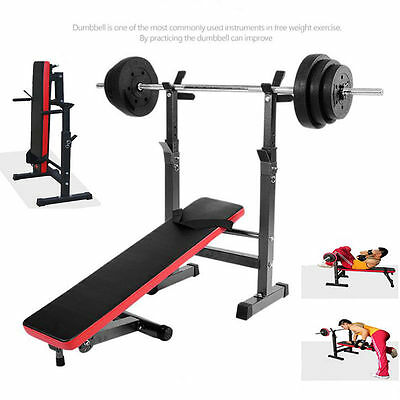 Heavy Duty Gym Shoulder Chest Press Sit Up Weight Bench Barbell Workout 80-105CM