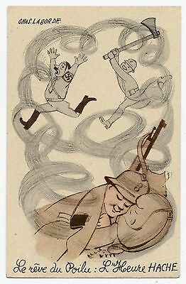 WWII.1939-45.ILLUSTRATEUR CHAS.LABORDE.CARICATURE.HITLER.L'HEURE HACHE heure H