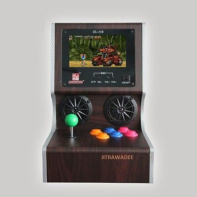 """Real wood cabinet mini arcade console - 2000 games - AV out - 7"""" screen Micro SD"""