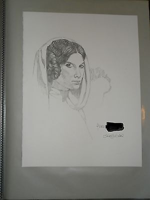 Superbe Dedicace Dessin Original Art Star Wars Sur Feuille San Julian Leia