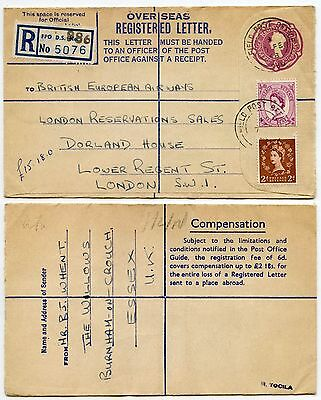 GB QE2 1958 OVERSEAS REGISTERED ENV.MILITARY FPO986 to BEA 6d + 6d + 2d WILDINGS